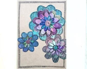Paper Flower Garden series 1 - 5x7 (PFGL-0013) - Handmade Blank Card