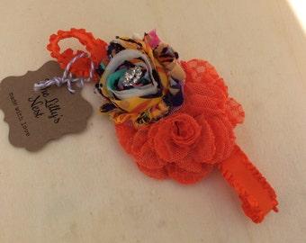 Red orange lace flower headband, girls headband, baby headband, newborn headband