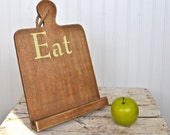 Wood Cutting Board Tablet Stand iPad Kitchen Office EAT sign green any color Book