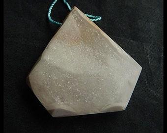 Drusy Geode Ocean Jasper Gemstone Pendant Bead,Healing Crystals And Stone,43x13mm,24.3g