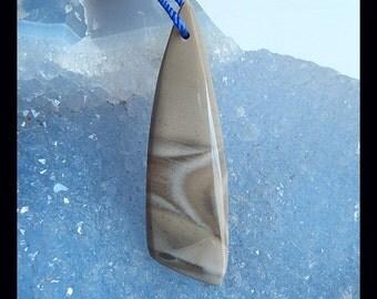 Polish Flint Gemstone Pendant Bead,42x12x5mm,4.07g