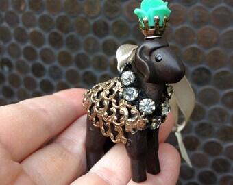 brown lamb ornament. merry menagerie: le petit agneau.  one of a kind original hanging art.  boho chic lamb