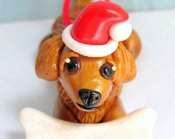 Golden Retriever Ornament Dog Christmas Ornaments Polymer Clay Golden Retriever Christmas Ornament Decoration