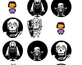 Undertale Inspired 1 Inch Round Stickers