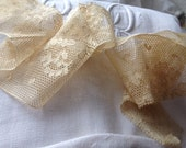 Vintage French  lace, 1940s, cream ,handmade, supplies and crafts,mixed media, spider, web, circles, flowers, embroidery,