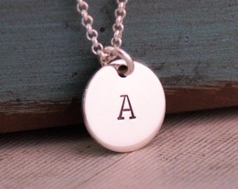Small Initial Necklace / Custom Necklace / Personalized Jewelry / Sterling Silver Hand Stamped Jewelry / Everyday necklace
