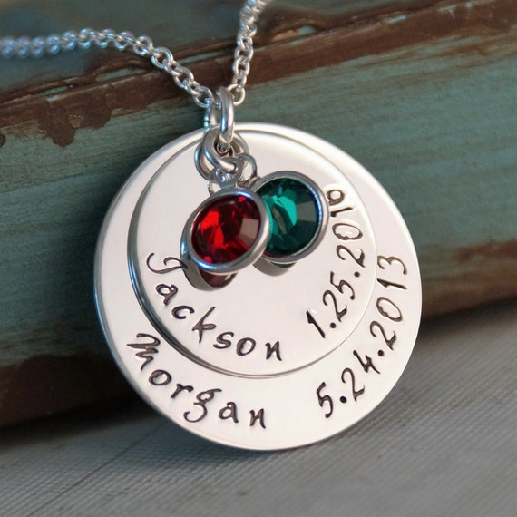 Personalized Mommy Necklace - Hand Stamped Jewelry Sterling Silver - My Kids Deluxe Big Stack of two