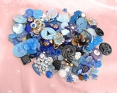 Broken Vintage Jewelry Lot - Blue Jewelry Pieces - Vintage Rhinestones - Vintage Plastics