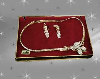 Vintage 24k GP Rhinestone Necklace Set - 50s Screwback Earrings -  Original Gift Box