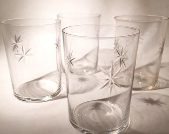 Vintage Tumblers Etched With Stars