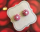 Christmas Earrings, Peppermint Candy Earrings, Red and White, Titanium Hypoallergenic posts / studs