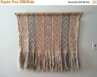SALE 1980s Don Freedman Wall Hanging 80s Woven Fiber Art Wall Macrame Weaving Chevron