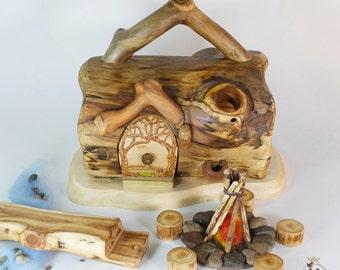 Willodel Real Log Gnome Home Summer Camp Set