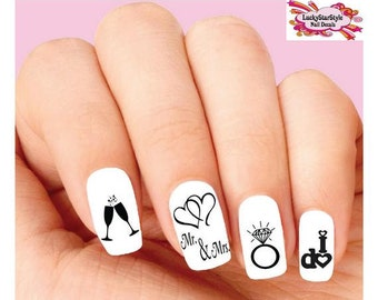 Waterslide Nail Decals Set of 20 - Wedding, Bride, I do Silhouette Assorted