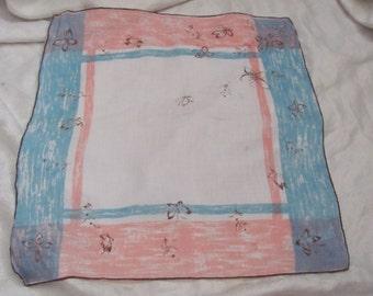 Beautiful Large Blue Pink Cotton Hankie Handkerchief