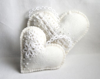 Hearts White on White Felt Tatting Lace Lavender Sachets
