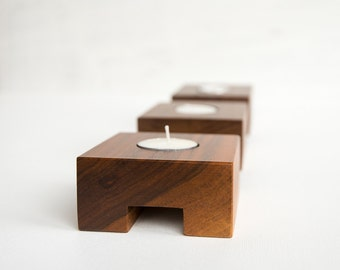 Modern Tealight Holder, Set of 3, Wood Tealight Holder, Walnut Candle Holder, Tealight Candle Holder, Handmade Modern Candle Holder