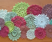 18 Vintage Crochet Doilies, Hand Dyed in Burgundy, Brown, and Greens