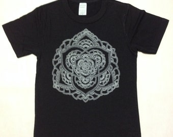 Children's Black Bamboo/Organic Cotton Lotus Mandala Shirt - Hand Drawn - Hand Printed - Sacred Geometry
