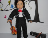 Custom order mariachi charro suit traje black gabardine with silver trim fits American Girl doll 18 in