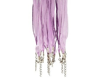 5  PURPLE Organza Voile RIBBON CORD Necklace for Bottle Cap Jewelry H567