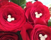 4 Disney Wedding Hidden Mickey Mouse Ears Flower Pins BLING BOUQUET for Brides and Bridesmaids