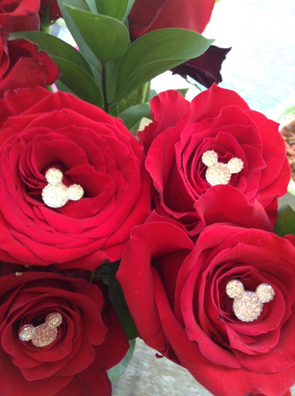 4 disney wedding hidden mickey mouse ears flower pins bling