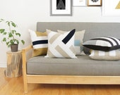 18x18 Colorblock pillows | Beige, White & Navy Blue Decorative Throw Pillow Case, Cushion Cover | Graphic Color Block Geometric Chevron
