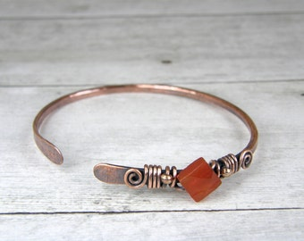 Carnelian & Copper Wire Bangle, Antiqued Copper and Square Faceted Carnelian Gemstone Bangle Size 7-1/4