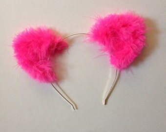 Hot Pink Fuzzy Cat Ears
