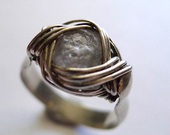 Light Blue Sapphire From Montana Set In Silver Wire-Wrapped Ring - Sz. 8