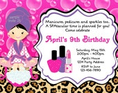 Spa Party Invitation Leopard Print Birthday Party Glamour Party Invites Personalized Printable Digital JPEG File #25