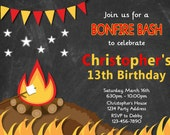 Campfire Birthday Invitation//Bonfire Birthday Party Invitation//Chalkboard//Photo Option//Personalized Invite - Printable JPEG File #5/6