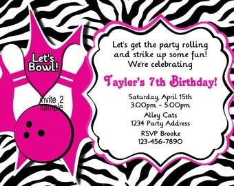 Bowling Birthday Invitation Girls Bowling Birthday Party Invites Zebra Print- Digital JPEG File #2