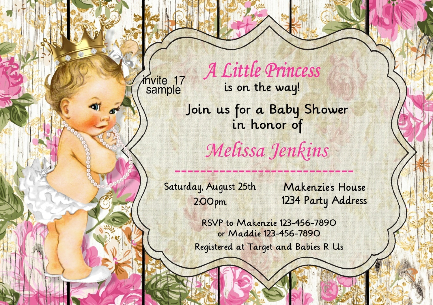 vintage little princess baby shower invitation by jcsaccents