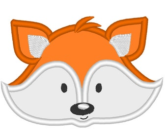 Pretty Fox Face - machine embroidery applique designs for hoops 4x4, 5x7 INSTANT DOWNLOAD - cute nice fox embroidery