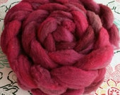 "4 oz Hand Dyed Romeldale / CVM Roving, ""Sangria,"" Shades of Red, Super Soft, Heritage Breed, Rare, Conservation Breed, Next to Skin Soft"
