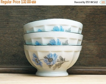 set of 3 french cafe au lait bowl with patel blue anemones flowers,  porcelain, white and silver china