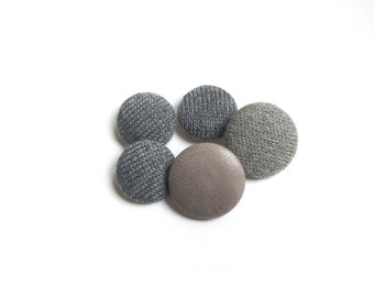 5 Vintage Grey Buttons, Grey Covered Buttons, Assorted, Leather, Wool