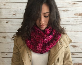Pink Shades Hand Dyed Pure Merino Infinity Scarf,  Ladies Winter Fashion Accessories