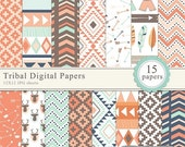 60% OFF SALE - Tribal scrapbook paper 12x12,  royalty free- Instant Download