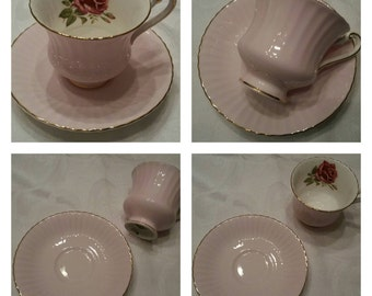 Pink Paragon Cup & Saucer Featuring A Red Rose Inside The Cup circa 1957-1960's  DSC