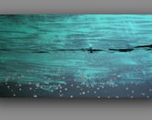 Gray And Turquoise - Original  Large Abstract Painting 40 x 32 Canvas