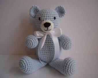 Crocheted Stuffed Amigurumi Light Blue Teddy Bear