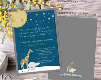 baby shower invitation gender neutral birthday invitation the night you were born polar bear giraffe lady bug sprinkle item 1422 shabby chic