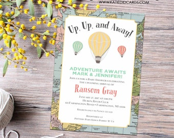 Adventure awaits baby shower invitation up up and away map hot air balloon birthday graduation world travel item 12116 around the world