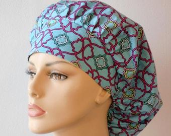Scrub Hats Blue and Pink Lattice Bouffant Medical Scrub Hat
