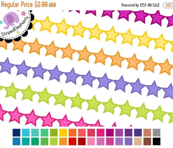 40% OFF SALE Digital Clipart - Star Digital Ribbons 2 - Instant Download - Commercial Use