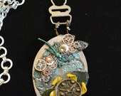 Steampunk flat spoon dragonfly clock gears flower 24 in chain necklace