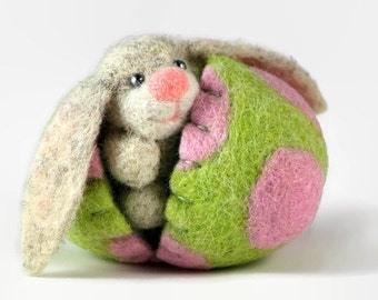 Easter Bunny in a Felt Easter Egg - Pastel Easter Egg - Easter Decorations - Hollow Easter Egg - Surprise Egg - Easter Ornament